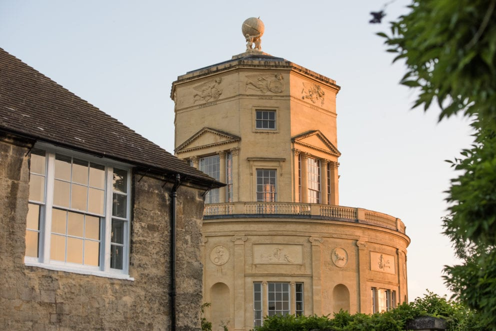 Green Templeton College view of Radcliffe Observatory from Lankester Quad, Photo (c) John Cairns