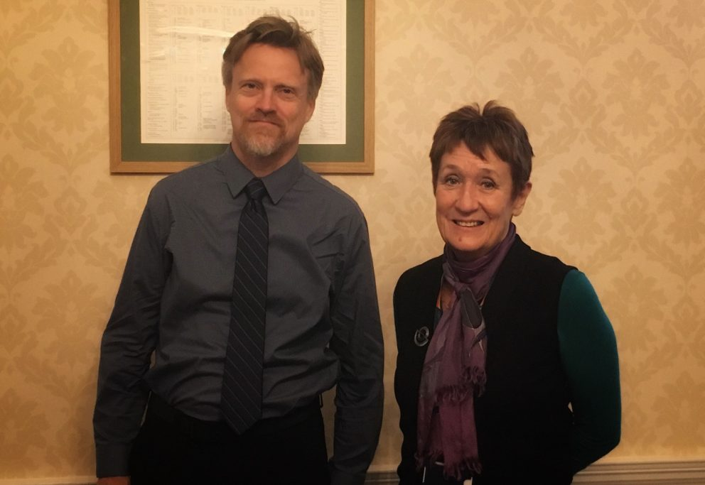 Professor Timothy Hoff and Denise Lievesley ahead of his lecture on Obamacare at Green Templeton College on January 14, 2019 (c) Green Templeton College