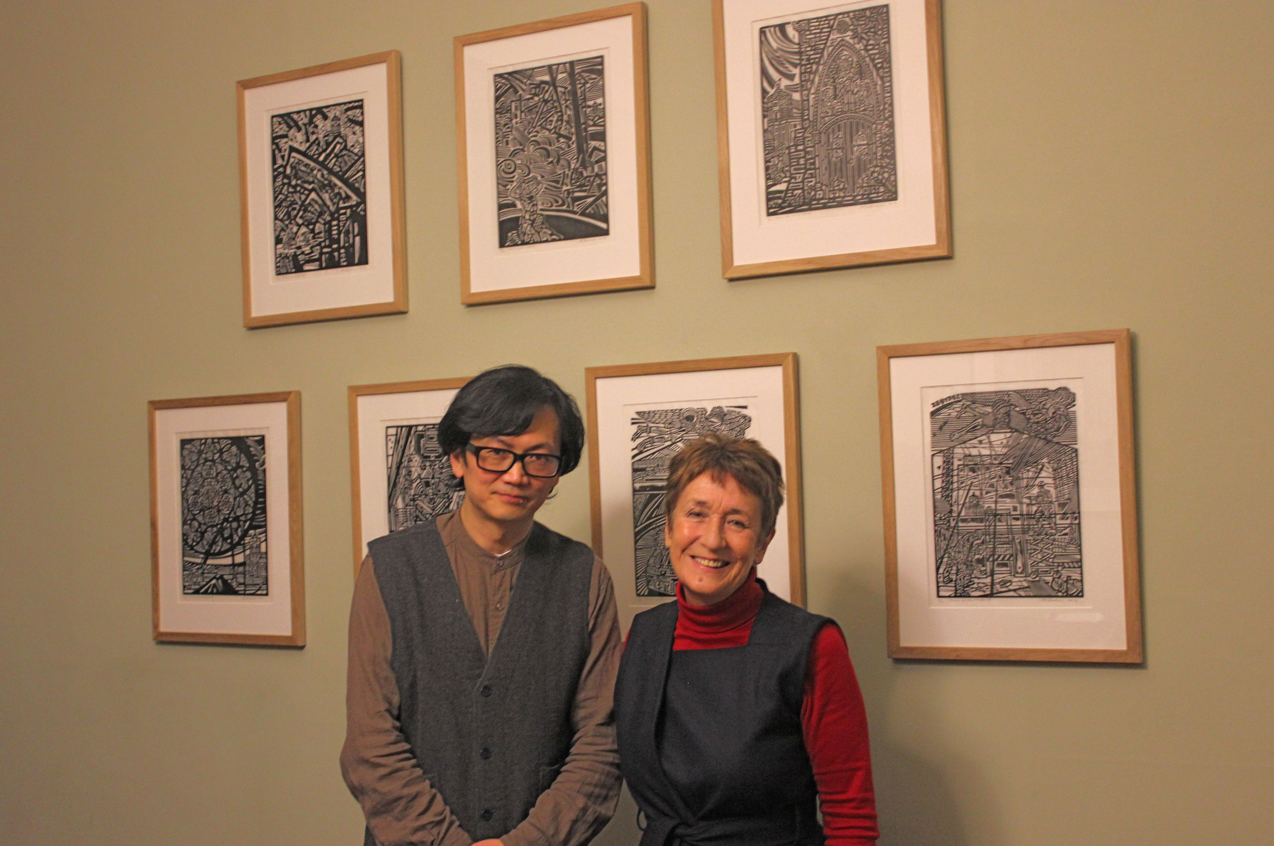 Green Templeton's Artist in Residence Weimin He and Principal Denise Lievesley at the launch of his book, Tower of the Winds, 31 January 2019