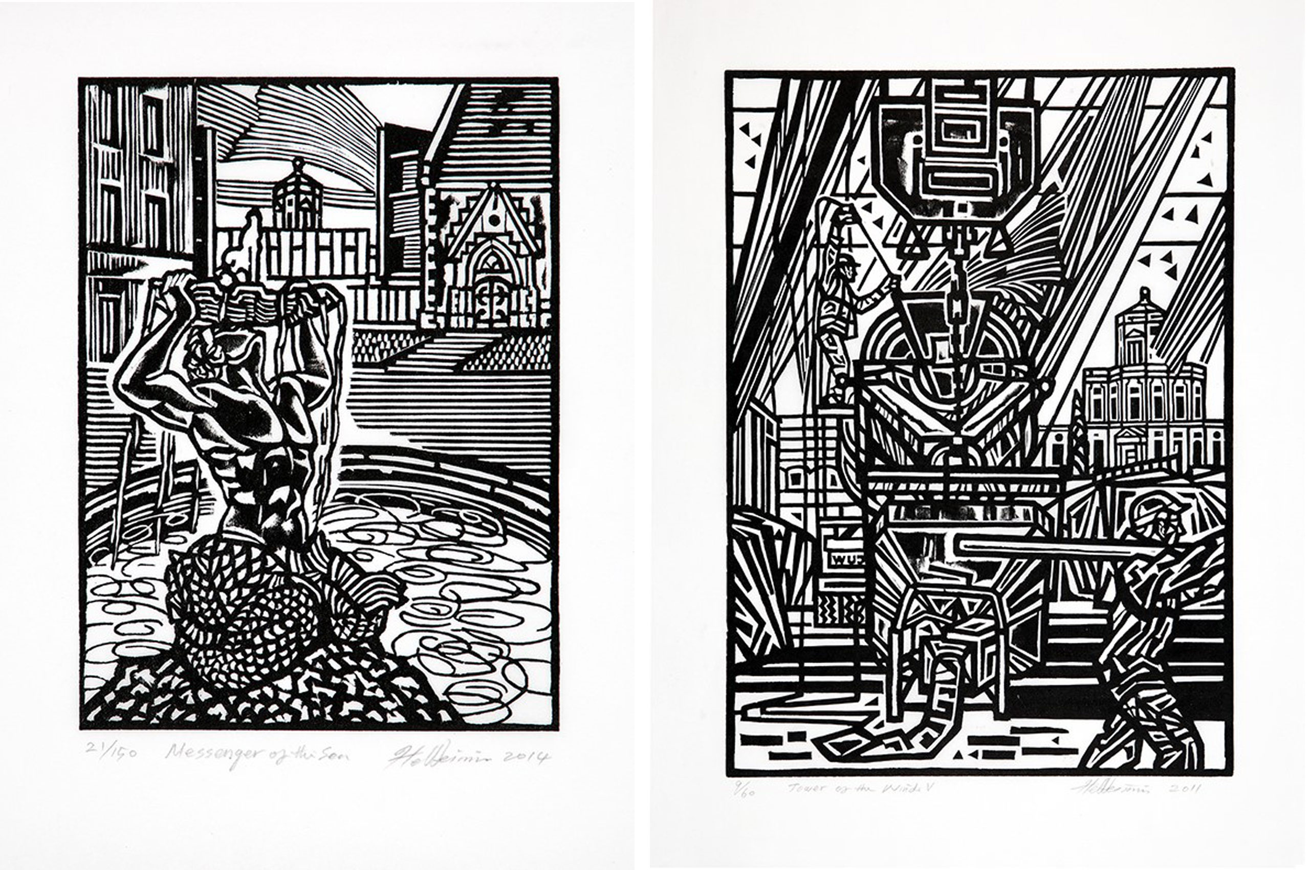 Two woodcut prints from Artist in Residence Weimin He, taken from his 2019 book, Tower of the Winds, Works on Paper by Weimin He (c) Weimin He