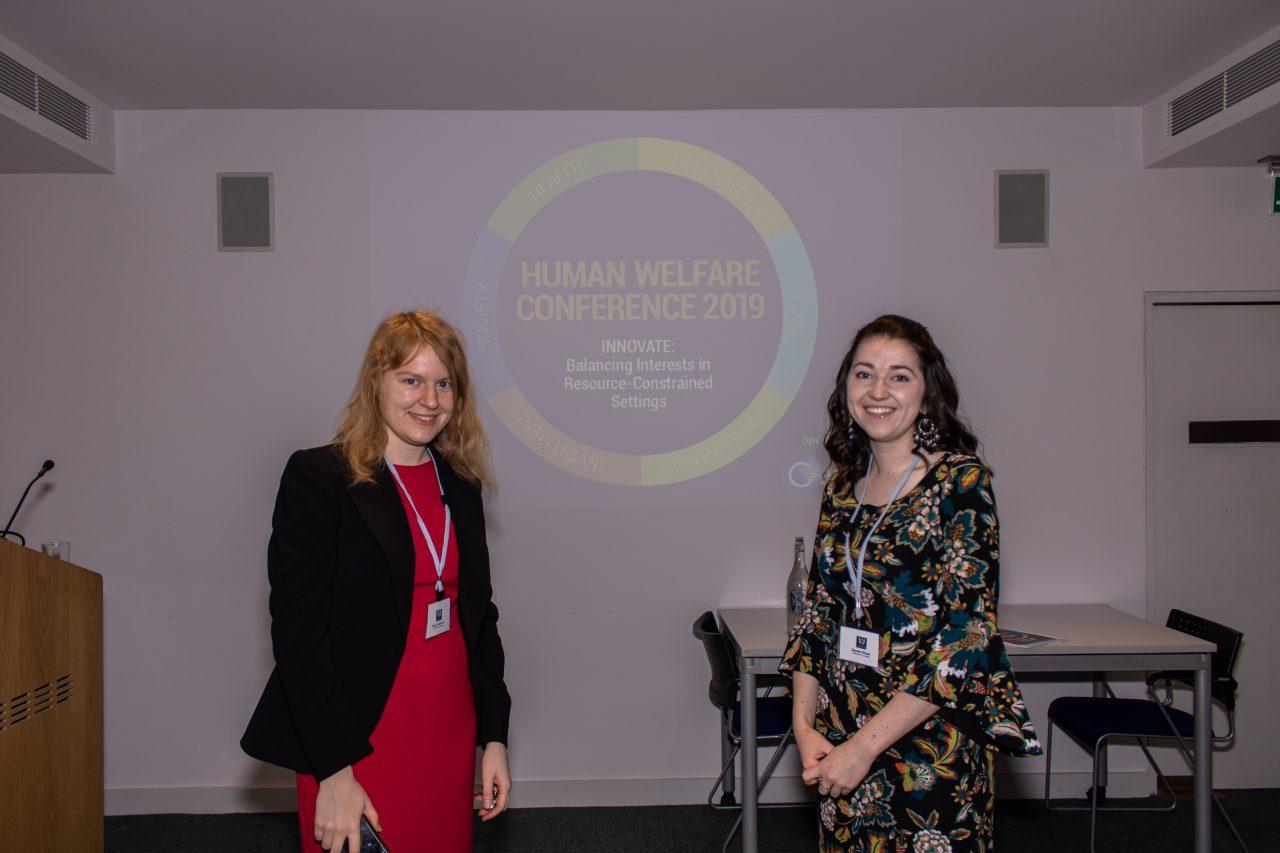Human Welfare Conference 2019 co-chairs Anna Vasylyeva and Rachel Dixon