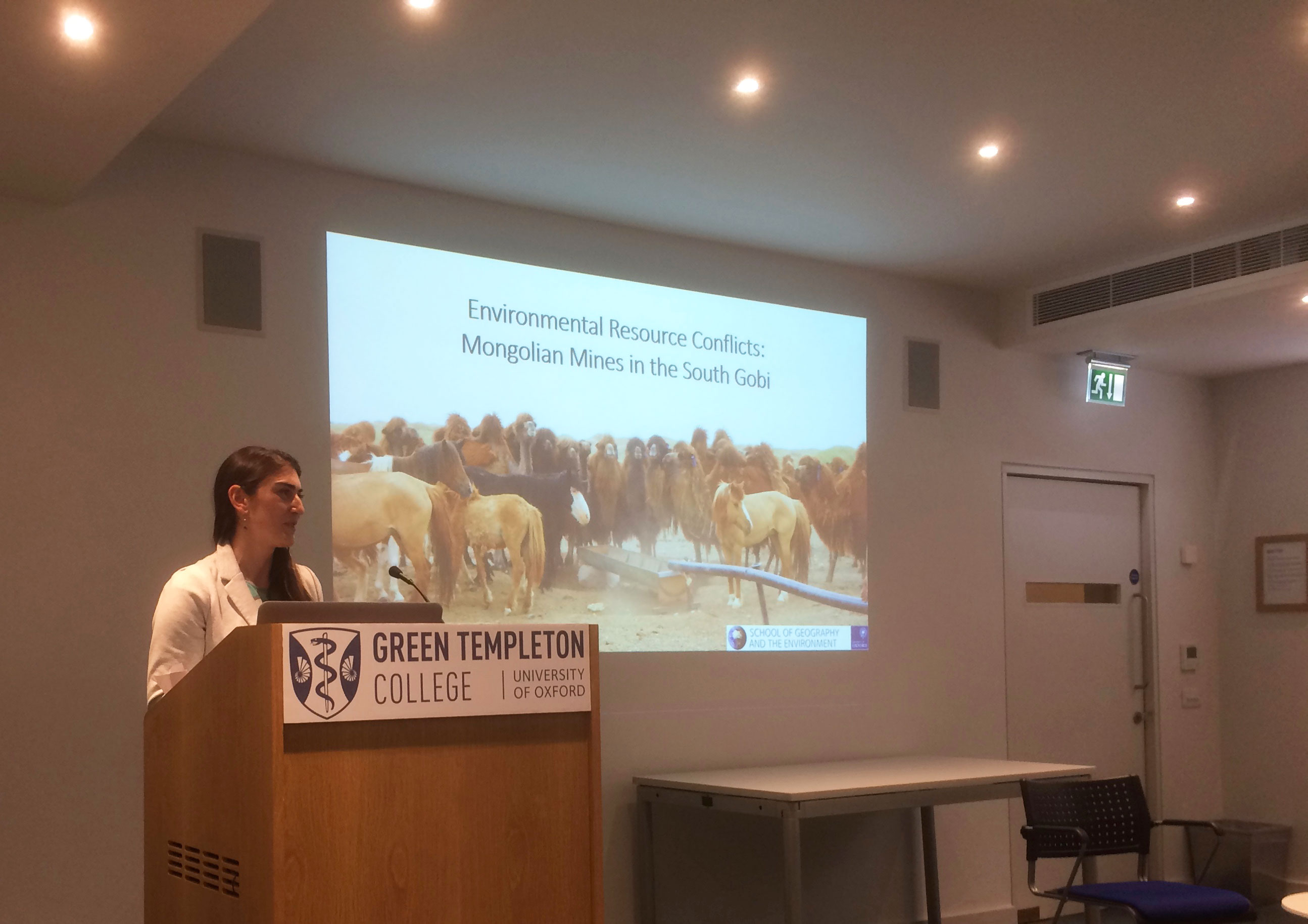 Dr Ariell Ahearn speaking at Green Templeton College Social Sciences Seminar on 7 June 2019 on topic of 'Environmental resource conflicts: from water wars to Mongolian mines.'