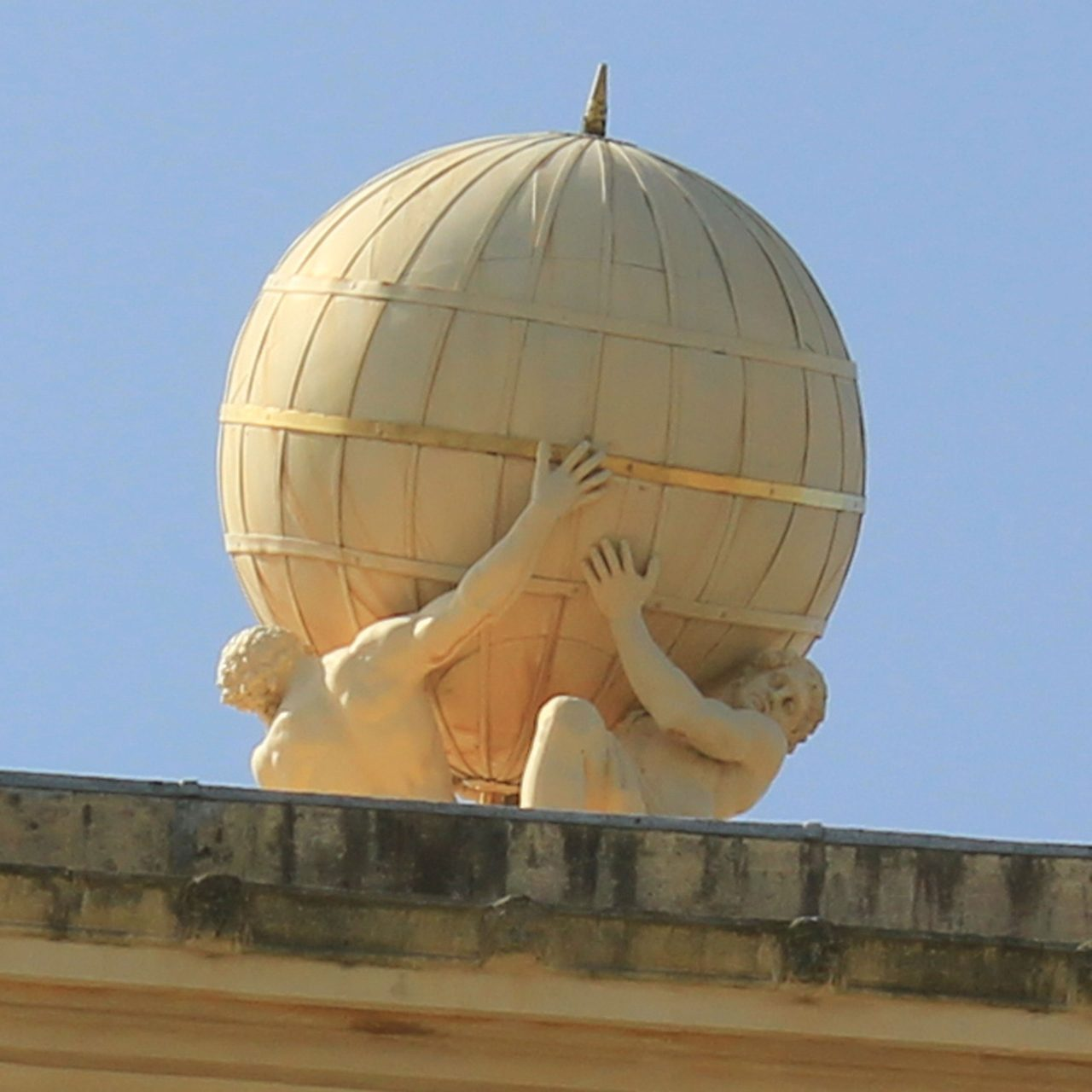 Atlas and Hercules who support the globe on the roof of the Tower of the Winds