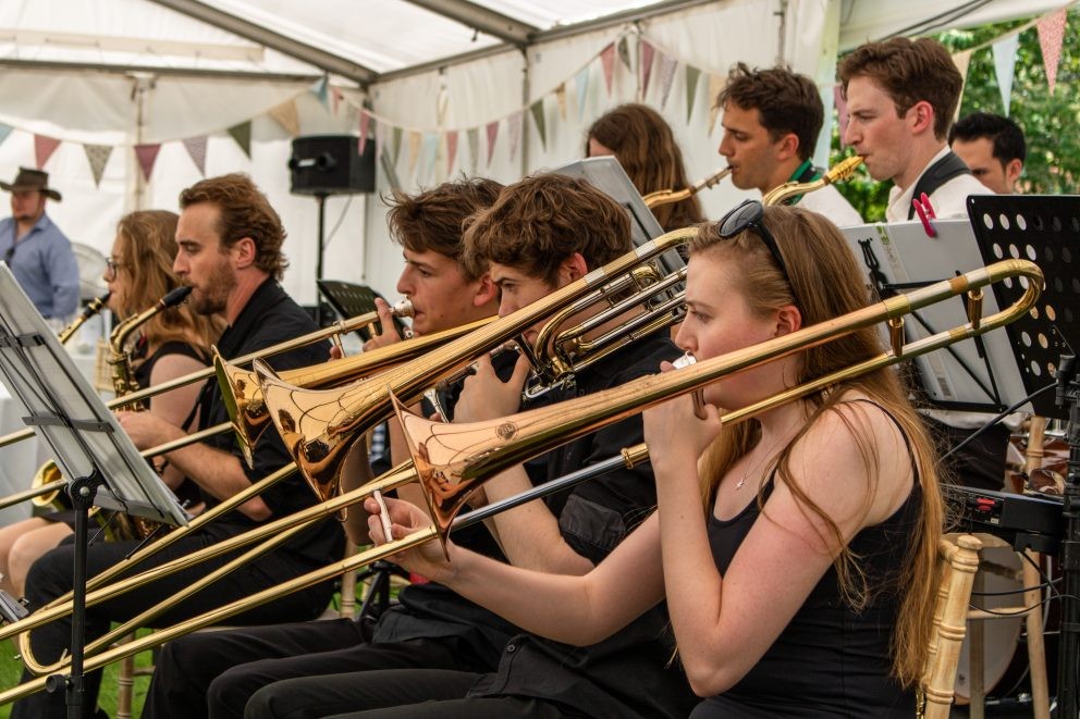 Green Templeton College Big Band at the annual garden party, 29 June 2019
