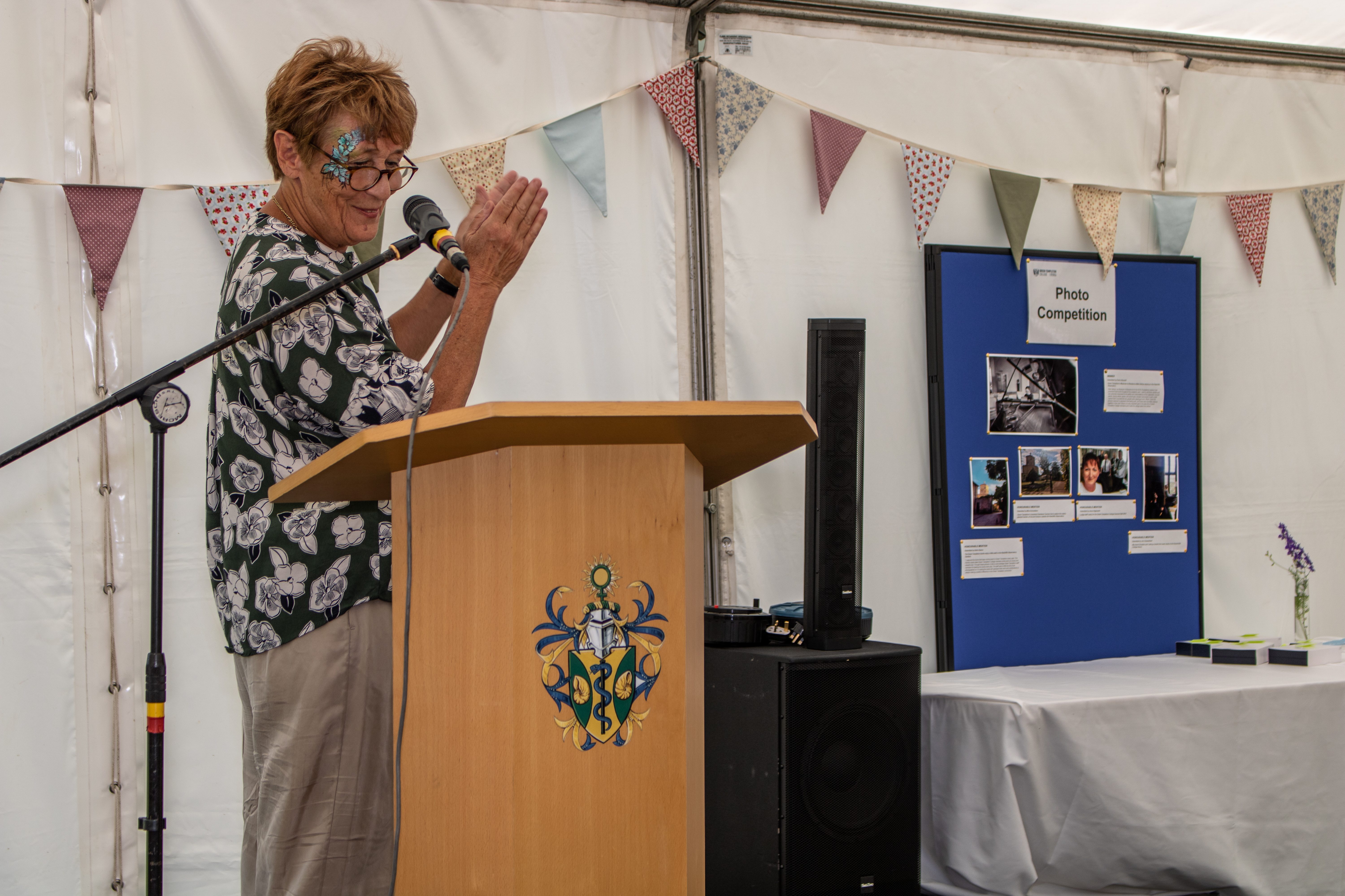 Principal Denise Lievesley announcing the winner of the 2019 Photography Competition at the Green Templeton annual garden party on 29 June 2019