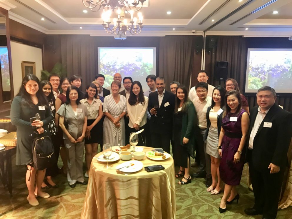 Denise Lievesley with guests at Singapore alumni reception on 14 August 2019