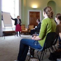 Students participate in a Management in Medicine session at Green Templeton College