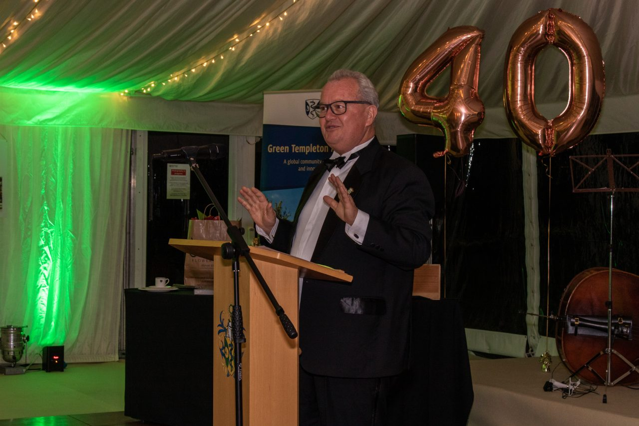 Bursar Tim Clayden introduces the auction, 40th Anniversary of the Founding of Green College, 20 September 2019