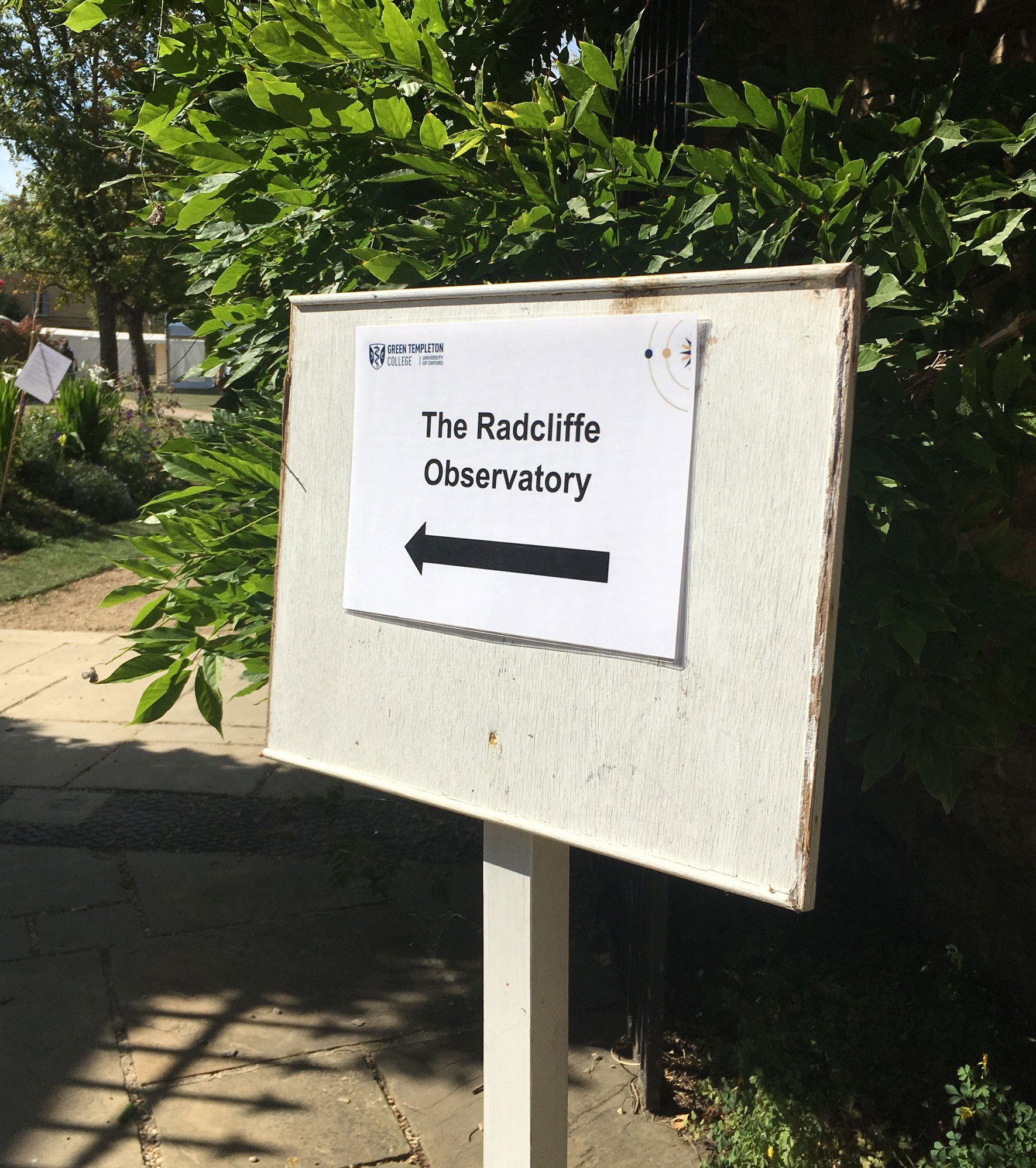 A sign to the Radcliffe Observatory at Green Templeton College during Open Doors 2019