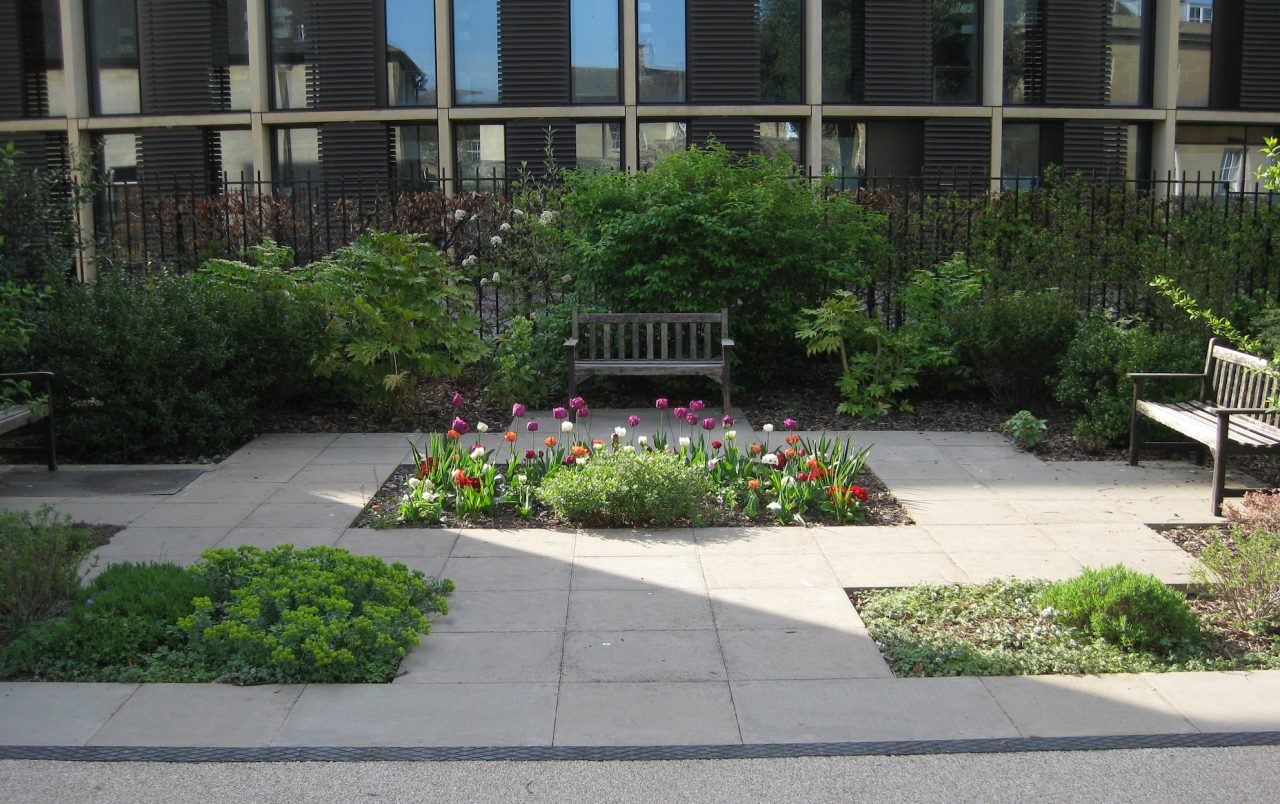 Bench and flowerbed