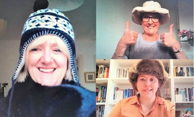 The Alumni Team wear fun hats for a Microsoft Teams virtual meeting held during the first COVID-19 lockdown