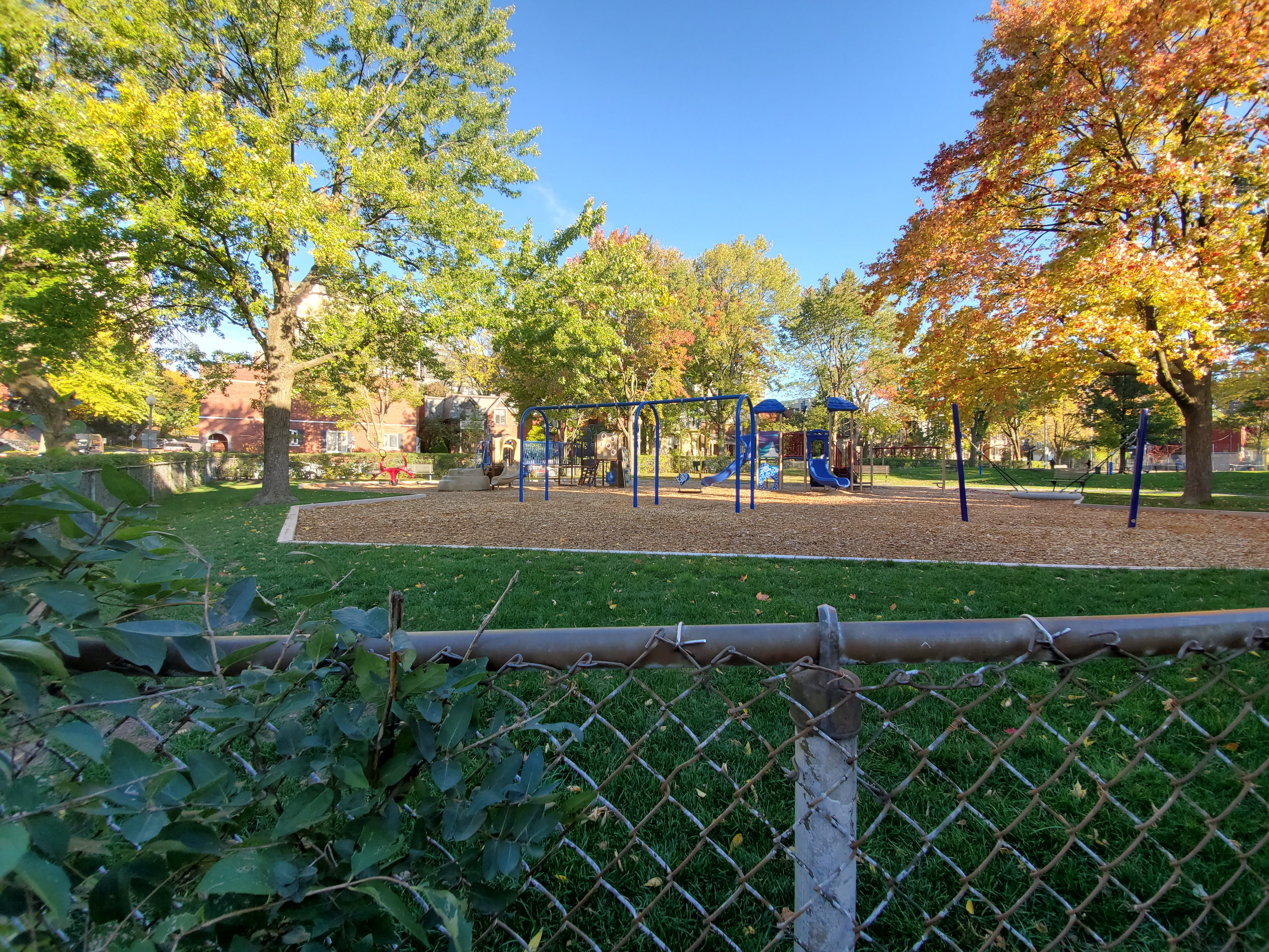 A view of the swings and slide at Stayner Park