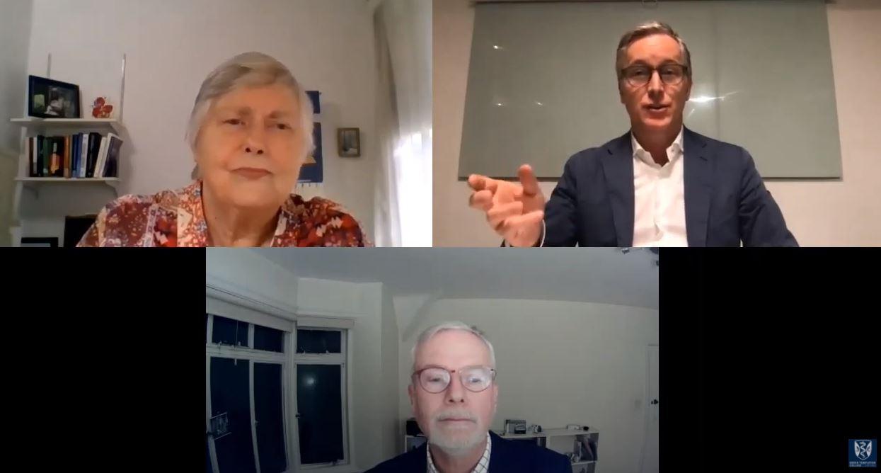 Jean Bartunek, Rafael Ramirez and Ulf Mannervik talk during the 2020 Richard Normann Lecture on Zoom