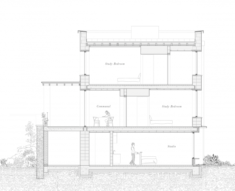 Proposed Section Illustrating Clay Block Construction