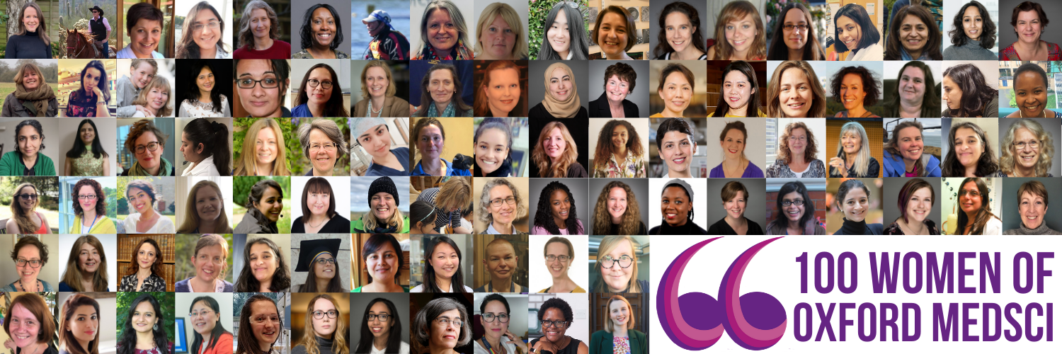 A collage of small headshots of the 100 women who contributed to the 100 Women in Oxford Medical Sciences campaign