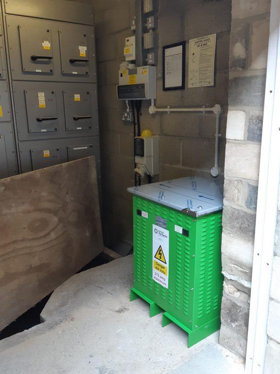 Voltage Optimiser box in plant room
