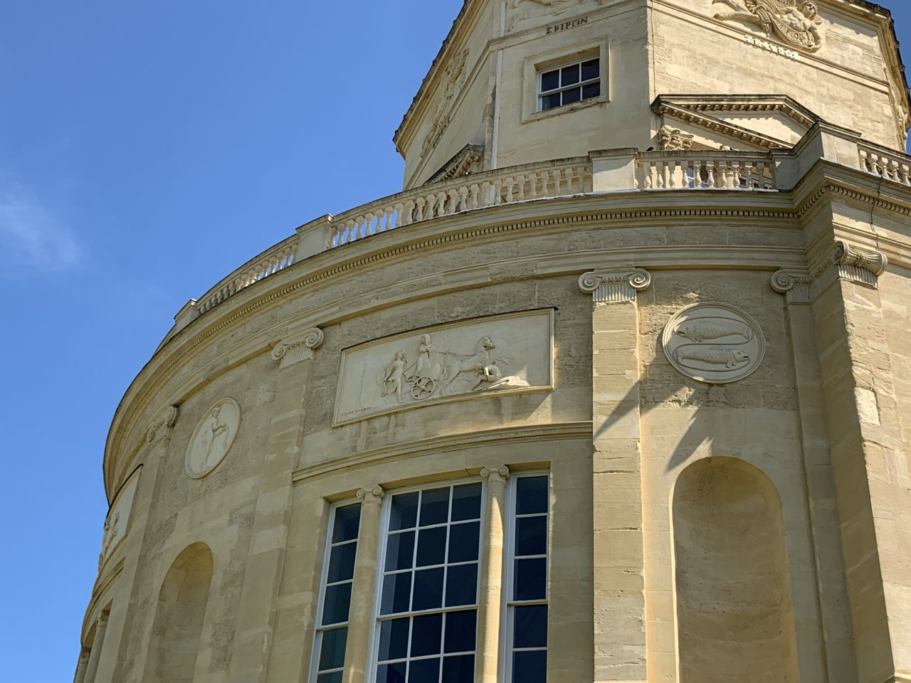 The signs of the zodiac visible on the upper balcony of the Radcliffe Observatory