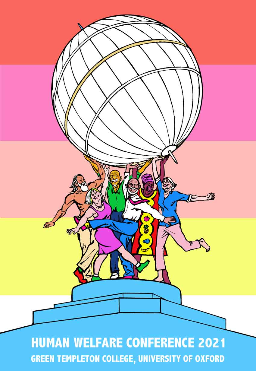 An artwork by Weimin He commissioned for the Human Welfare COnference showing a group of people standing below the Radcliffe Observatory dome. The background of the piece is a multicoloured rainbow