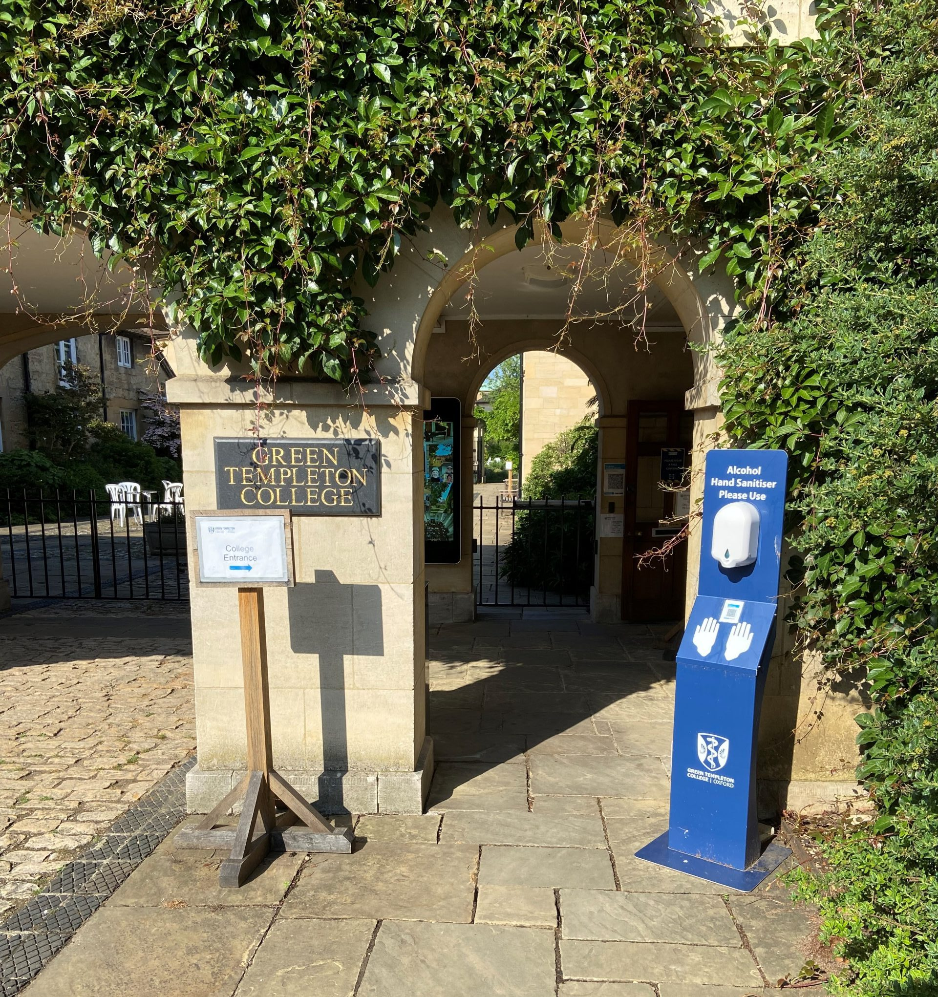 Hand sanitiser at the entrance to Green Templeton College