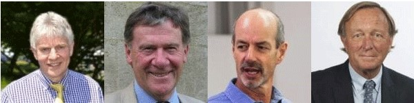 Portrait photos of retiring Governing Body Members David Cranston, Keith Hawton, Tim Morris and Neil Mortensen